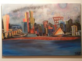 """MKE Skylines"" Oil and acrylic on canvas."