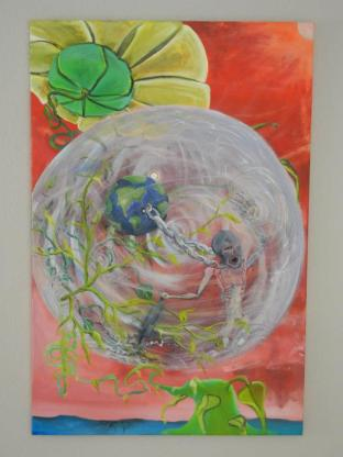 """""""The Weight of The World In My Little Bubble"""" Oil on canvas."""